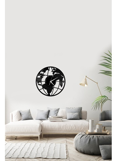 Angemiel Home Dünya Pleksi Duvar Saati Siyah